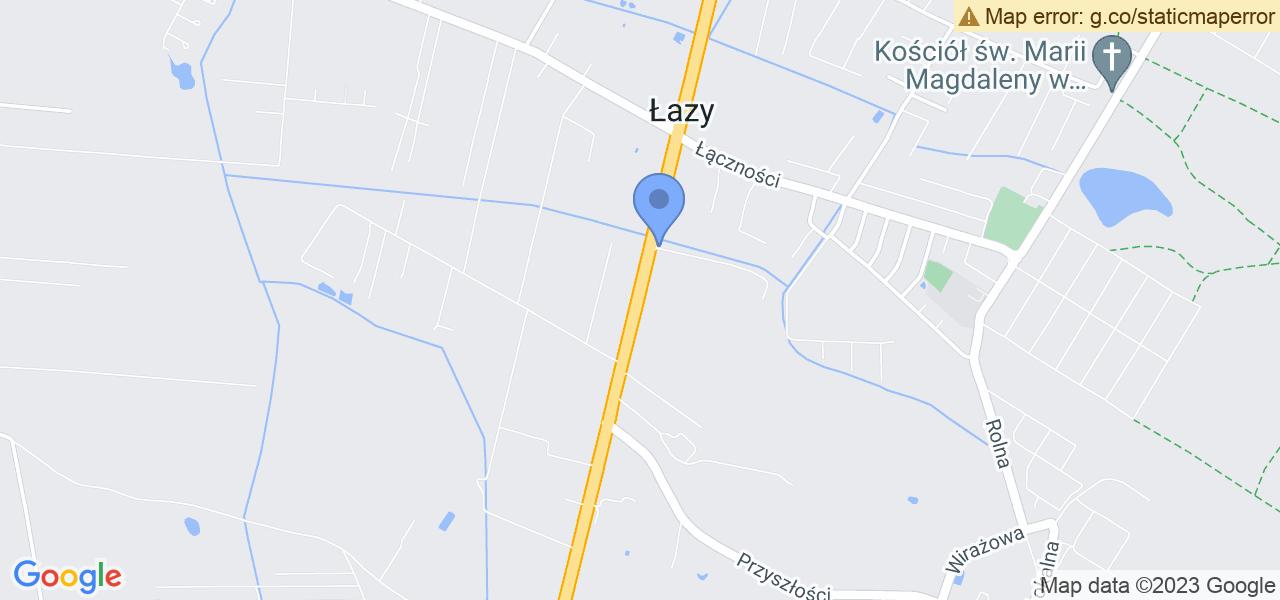 Jedna z ulic w Łazach – Aleja Krakowska i mapa dostępnych punktów wysyłki uszkodzonej turbiny do autoryzowanego serwisu regeneracji