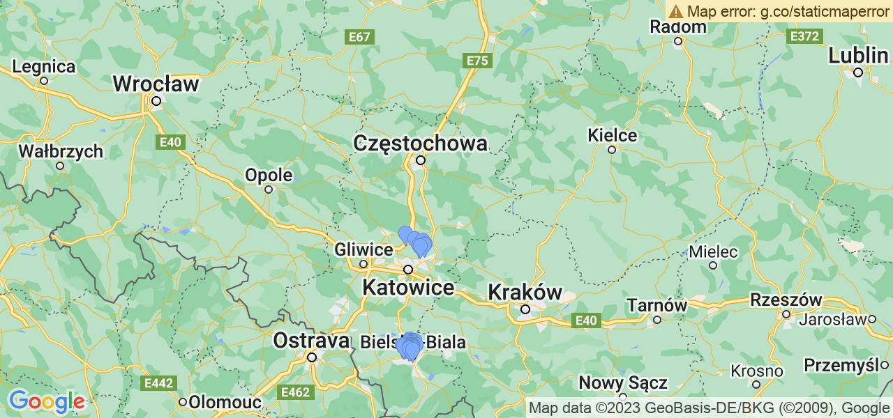 Rozmieszczenie punktów odbioru turbosprężarek do regeneracji w województwie śląskim
