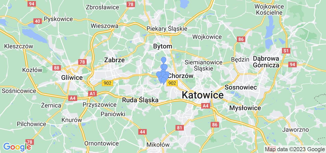 Mapka lokalizacji punktów nadania, z których mogą korzystać klienci serwisu regeneracji turbo w celu wysłania turbosprężarki – powiat świętochłowice