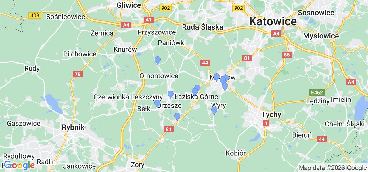 Mapka lokalizacji punktów nadania, z których mogą korzystać klienci serwisu regeneracji turbo w celu wysłania turbosprężarki – powiat mikołowski