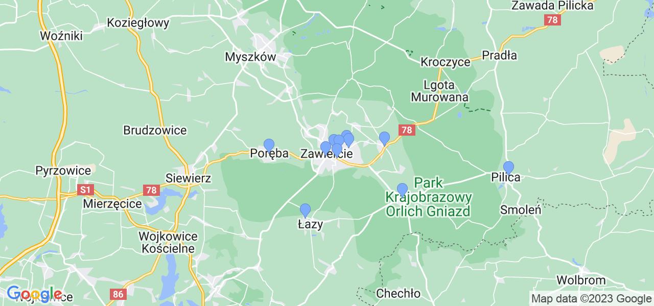 Mapka lokalizacji punktów nadania, z których mogą korzystać klienci serwisu regeneracji turbo w celu wysłania turbosprężarki – powiat zawierciański