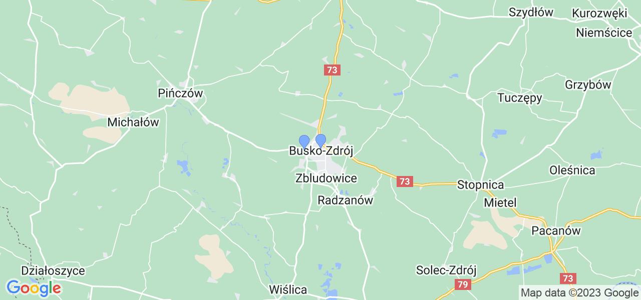 Mapka lokalizacji punktów nadania, z których mogą korzystać klienci serwisu regeneracji turbo w celu wysłania turbosprężarki – powiat buski