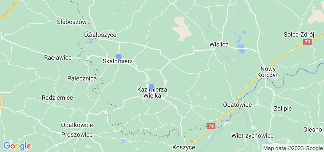 Mapka lokalizacji punktów nadania, z których mogą korzystać klienci serwisu regeneracji turbo w celu wysłania turbosprężarki – powiat kazimierski