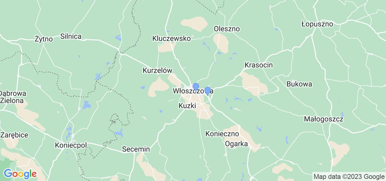 Mapka lokalizacji punktów nadania, z których mogą korzystać klienci serwisu regeneracji turbo w celu wysłania turbosprężarki – powiat włoszczowski