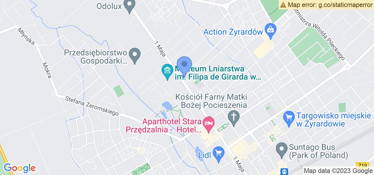 Jedna z ulic w Żyrardowie – 1 Maja i mapa dostępnych punktów wysyłki uszkodzonej turbiny do autoryzowanego serwisu regeneracji