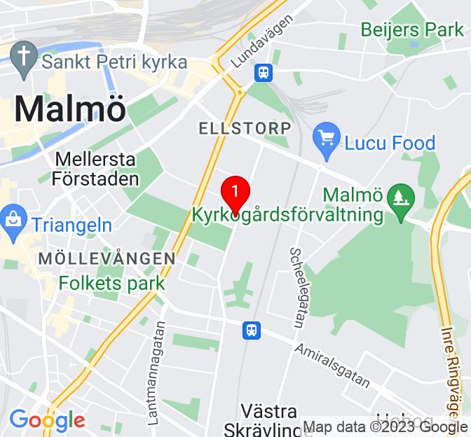 Karta över Östra Farmvägen 15B, Malmö