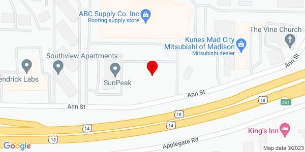 Google Map of +1018+Ann+Street+Madison+WI+53713