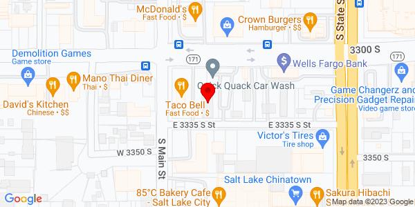 Google Map of +40+East+3300+South+Salt+Lake+City+UT+84115