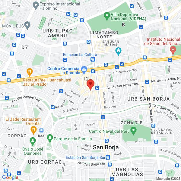 Av. de las Artes Norte 390 5to piso. San Borja, Lima.