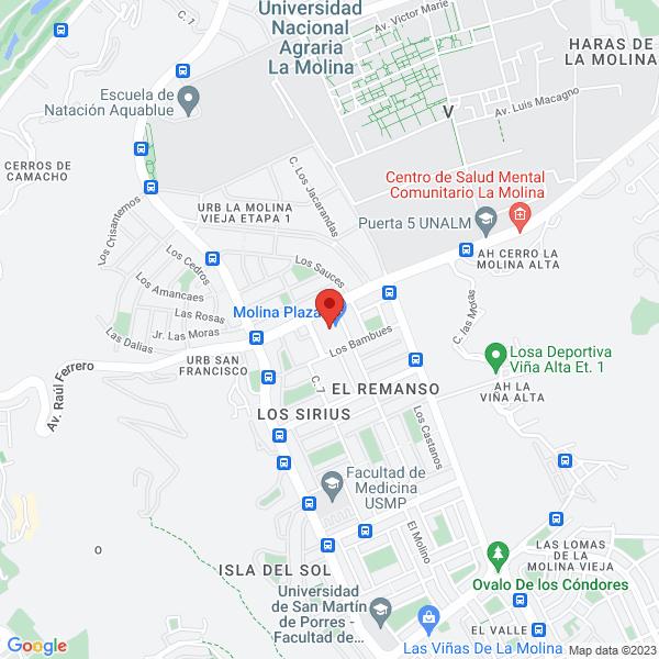 Av. Raúl Ferrero S/N, Molina Plaza 2ndo Piso(entrada Sportlife). La Molina, Lima.