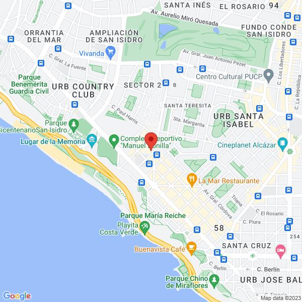 Av. Mariscal La Mar 1221 (interior Gym Plus La Mar, 2ndo piso). Miraflores, Lima.