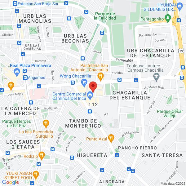 Pasaje Monte Azul #108 Of. 208 (2do piso). Chacarilla, Santiago de Surco, Lima.
