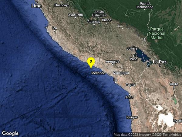earthquake 42km W of Camana, Peru