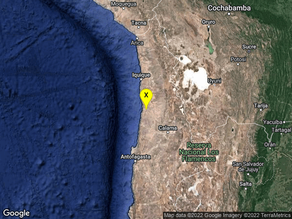 earthquake 72km NNE of Tocopilla, Chile