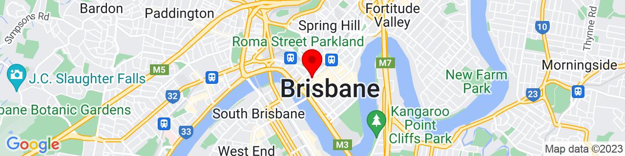 Google Map of -27.468880555555554, 153.0228277777778