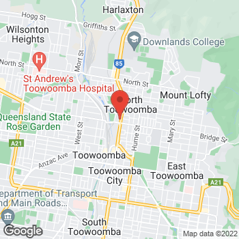 Map of O'Brien® Glass Toowoomba at 231 Ruthven Street, North Toowoomba, QLD 4350