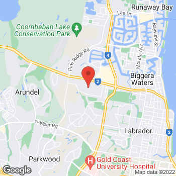 Map of O'Brien® Glass Gold Coast at 12 Telford Place, Arundel, QLD 4214