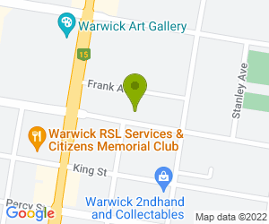 Map showing location of Cleaning and Catering Products, at 55 Grafton Street, Warwick, Queensland