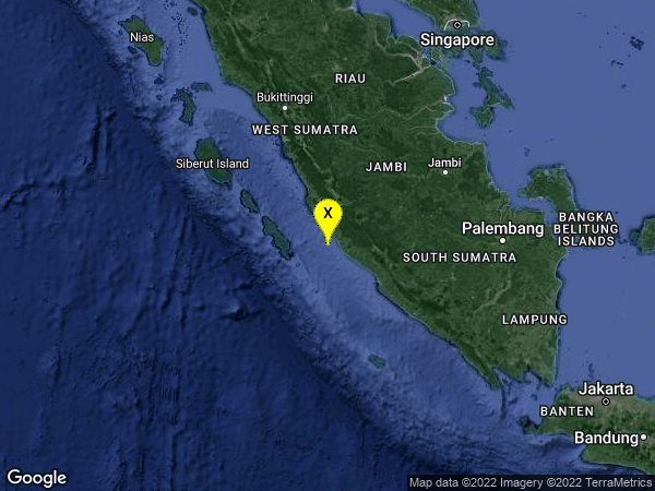 earthquake 111km S of Sungaipenuh, Indonesia