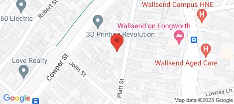 Location map for 32 Platt Street Wallsend