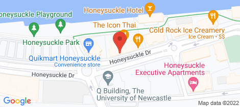 Location map for 404/15 Honeysuckle Drive Newcastle