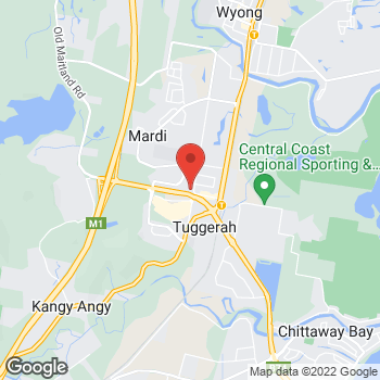 Map of O'Brien® AutoGlass Tuggerah at 46 Gavenlock Road, Mardi, NSW 2259