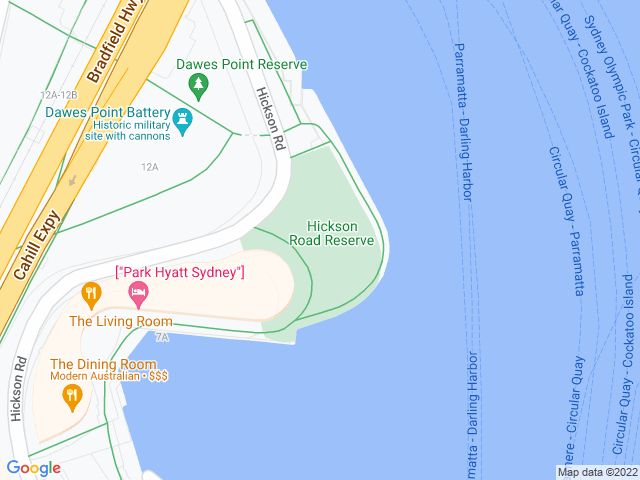 Map, showing New Year's Eve - Hickson Road Reserve