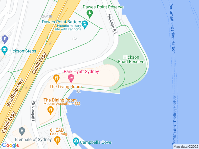 Map, showing Park Hyatt Sydney
