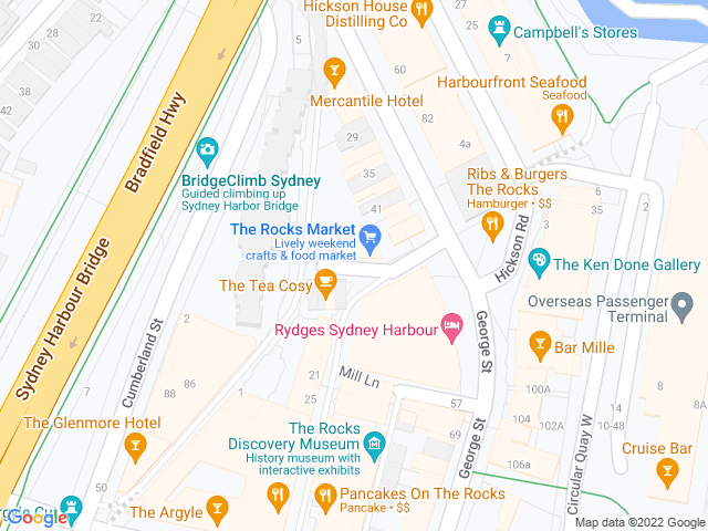Map, showing The Rocks Christmas Pop-Up Bar