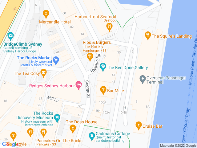 Map, showing The Ken Done Gallery