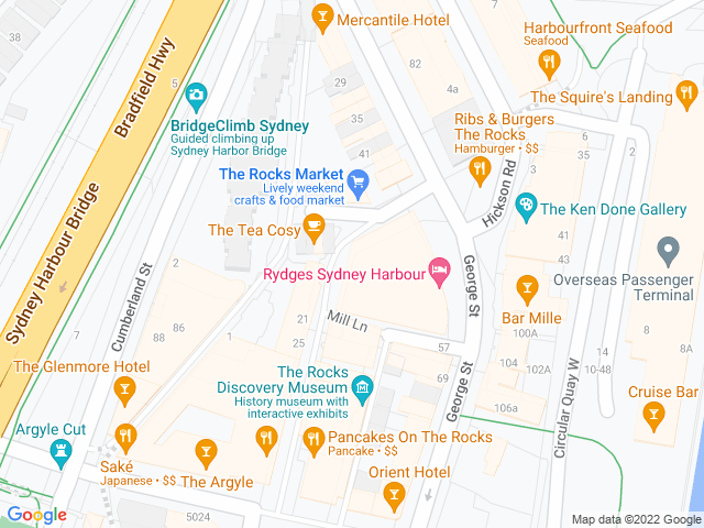 Map, showing The Rocks Markets