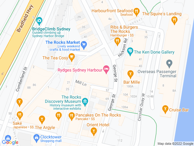 Map, showing Holiday Inn Old Sydney