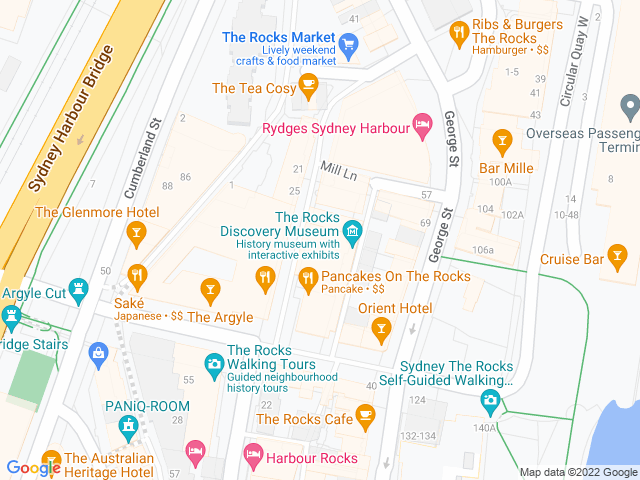Map, showing Accessories at The Rocks
