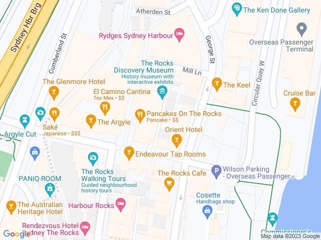 Map, showing The Rocks Christmas Lane