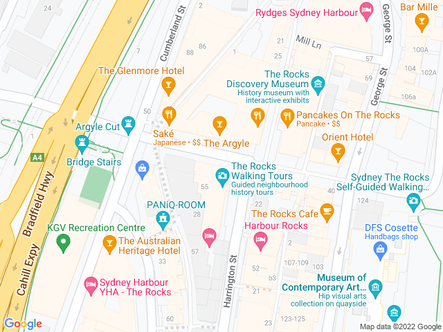 Map, showing $7.50 drinks at happy hour