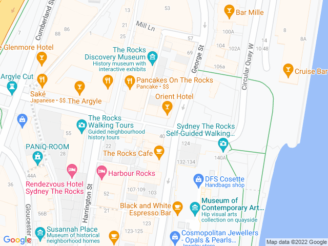 Map, showing The Orient Hotel