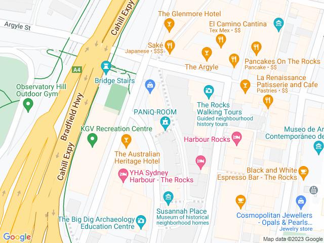 Map, showing PaniQ Room