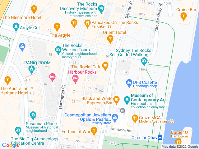 Map, showing The Rocks Chemist