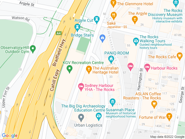 Map, showing The Australian Heritage Hotel