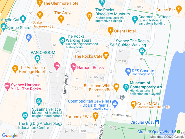 Map, showing Sydney Cove Jewellers
