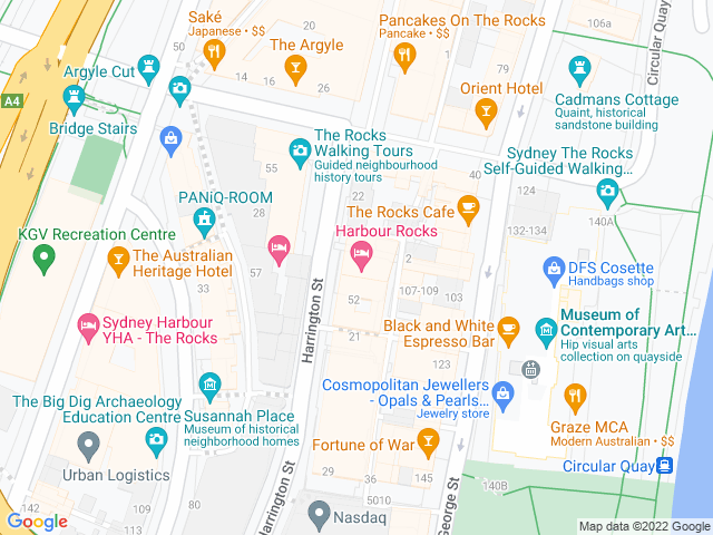 Map, showing $6 drinks at happy hour