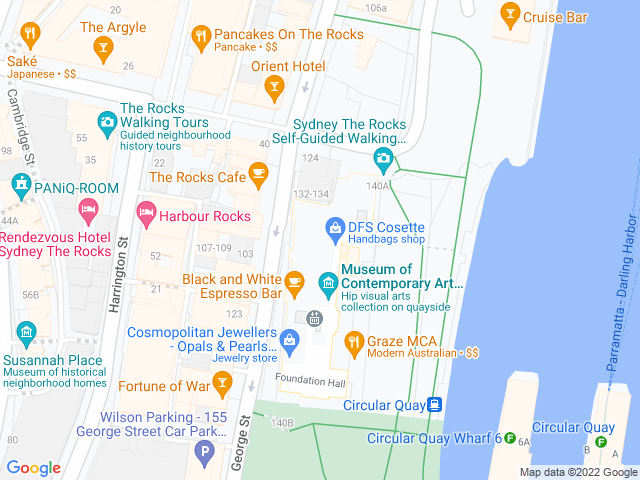 Map, showing MCA Cafe & Sculpture Terrace