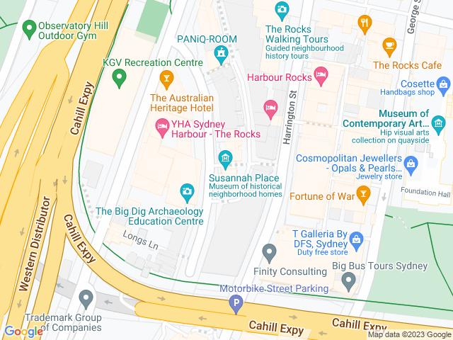 Map, showing Susannah Place Museum