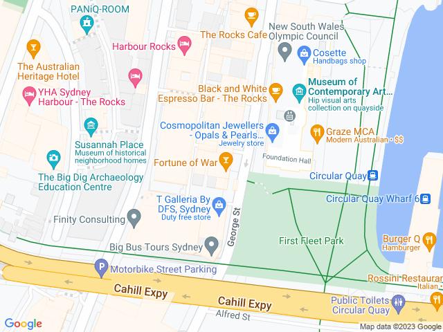 Map, showing Lemon Myrtle Inspired menu