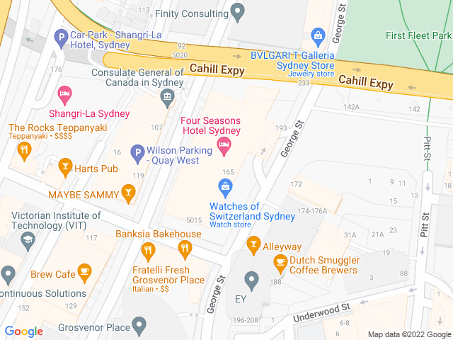 Map, showing Four Seasons Hotel Sydney