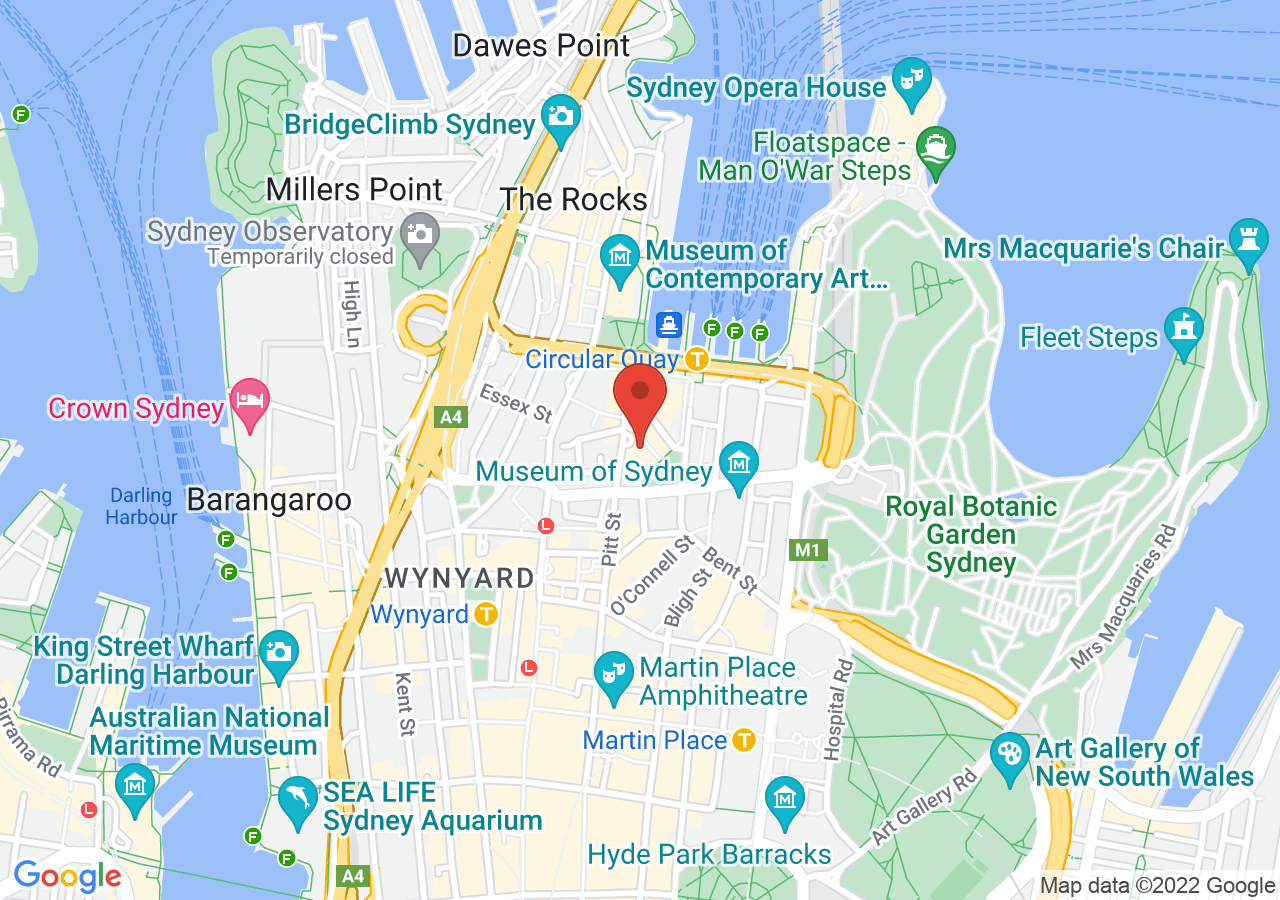 The location of Sydney Harbour Marriott Hotel