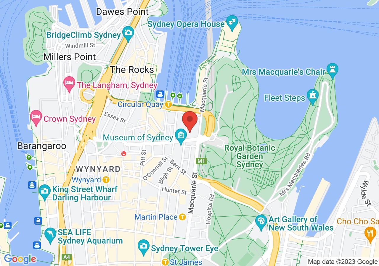 The location of Intercontinental Sydney