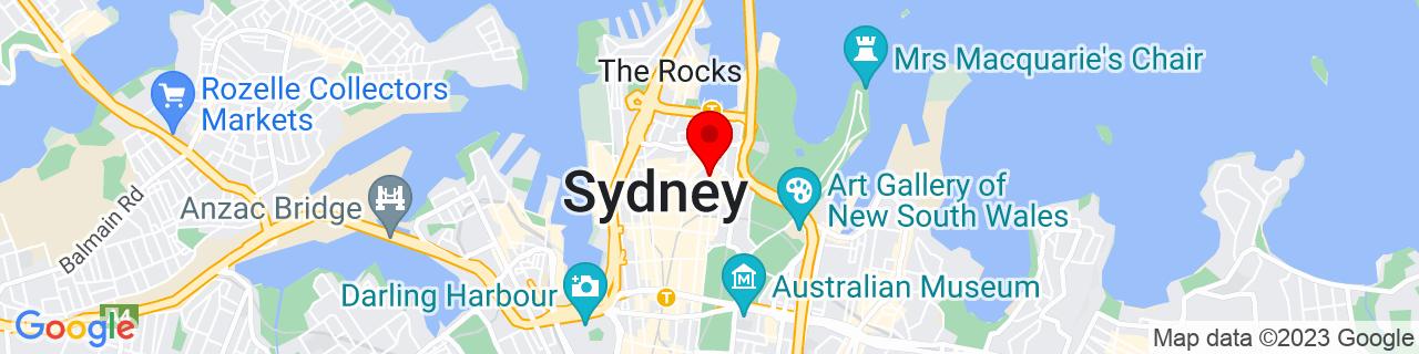 Google Map of -33.8654543, 151.21047529999998