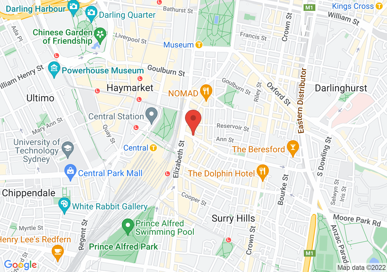 The location of Rydges Sydney Central