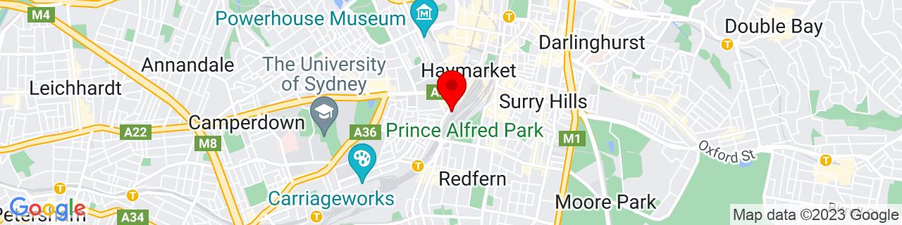 Google Map of -33.8862, 151.20285833333332